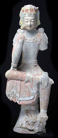 Buddhist Sculptures from Shandong - Southeast Asian Ceramic Society Bodhisattva in Pensive Pose with One Leg Pendent,  Northern Qi dynasty,  limestone with gold and coloured Pigments, overall height 90 cm, excavated 1996, Longxingsi temple site, Qingzhou City