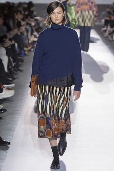 Dries Van Noten Fall 2017 RTW blue sweater with long patterned skirt 3d0d2f5743e