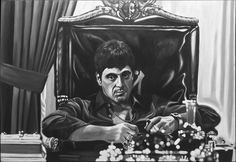 Al Pacino Scarface Oil Painting by Yen Leaw