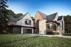 Modern house with new farmhouse exterior design pulling out country charm and warm welcoming display Image 26 - SHAIROOM. Houses Architecture, Farmhouse Architecture, Modern Farmhouse Exterior, Rustic Farmhouse, Modern Architecture, Dream House Exterior, Stone Exterior Houses, Building Exterior, Farmhouse Remodel