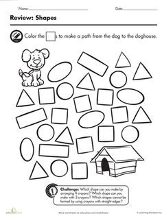 Kindergarten shapes worksheets will make your child a shapes expert. Help your kindergartener become a star with these shapes worksheets. Printable Shapes, Free Printable Worksheets, Preschool Printables, Preschool Math, Preschool Worksheets, Math Activities, Preschool Shapes, Free Printables, Shapes Worksheet Kindergarten
