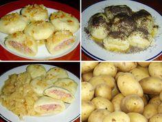 Bramborové knedlíky od babičky? Recept na bramborové knedlíky plněné uzeným masem nebo jablky. Pro pány s uzeným, pro dámy a děti jablkové. Tajemství plněných bramborových knedlíků s uzeným a recept na nejjednodušší bramborové těsto. A záleží na varném typu brambor? Czech Recipes, Ethnic Recipes, Home Baking, Baked Potato, Shrimp, Food And Drink, Menu, Potatoes, Bread