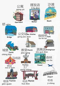 Learn about Apartment, Barber, Beach, Bridge, Bus station, Cafe, Greengrocer, Church, Castle, Circus, Factory, Forest, Fountain, Florist and Airport in Chinese.