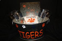 Auburn gift basket.  The AU is done in silver and blue.