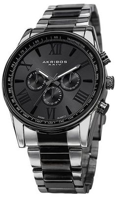 awesome Men's AK736TTB Ultimate Swiss Multifunction Silver-tone and Black Stainless Steel Bracelet Watch - For Sale Check more at http://shipperscentral.com/wp/product/mens-ak736ttb-ultimate-swiss-multifunction-silver-tone-and-black-stainless-steel-bracelet-watch-for-sale/