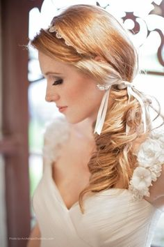 Loving this romantic side-swept wedding hairstyle {Bloom Makeup Artistry}