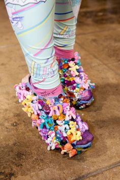 crazy shoes! Covered in my little ponies!