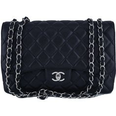 Pre-Owned Chanel Black Caviar Jumbo 2.55 Classic Flap Bag, SHW (€4.190) ❤ liked on Polyvore featuring bags, handbags, black, quilted handbags, chanel purse, quilted purses, chain handbags and quilted chain handbag
