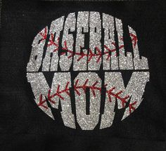 Women's Glitter Bling Baseball Mom shirt by RedheadedMonkeys,