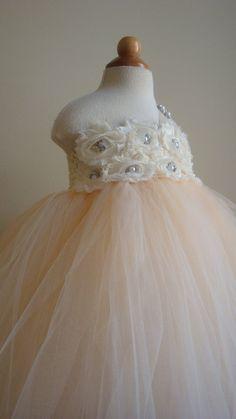 Flower girl dress  tutu dress champagne, ivory chiffton roses
