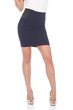 """Suko Ponte Pencil Skirt for Women with Tummy Control and Elastic Inserts. Women's 'ease into comfort' PDR Ponte de Roma, pull-on skirt with side elastic inserts to help with tummy control. A""""must have"""" figure-flattering skirt for an easy, all-day fit. Totally versatile, can be dressed up or down, worn out on the town, or to the office. This is a """"must have"""" skirt"""