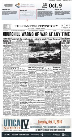 Winston Churchill warned of the threat of WW III on the front page of The Repository on October 9, 1948.
