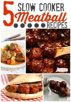 5 Slow Cooker Meatball recipes all in one place!   Crockpot meatballs are great for dinner ideas or party appetizers.