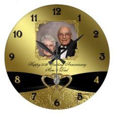 Black Ribbon Personalized Golden Anniversary Clock – Golden Couples
