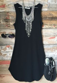 Fun in the Sun Tank Dress: Black... love the necklace. Like the style of the dress but too short for me.