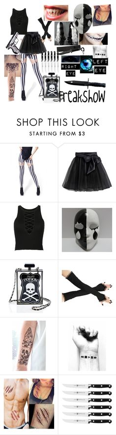"""Creepypasta Oc - Freakshow"" by anaquj ❤ liked on Polyvore featuring Little Wardrobe London, WithChic and Current Mood"
