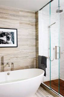 MODERN NEUTRAL BATHROOMIn Hilary Swank's Manhattan home, Mark Zeff designed the master bath's walls and floors. They are sheathed in travertine, and the shower is tiled with Cipollino tumbled marble. Neutral Bathroom, Bathroom Spa, Diy Bathroom Decor, Master Bathroom, Bathroom Ideas, Bathroom Images, Bathroom Furniture, Small Bathroom, Modern Luxury Bathroom