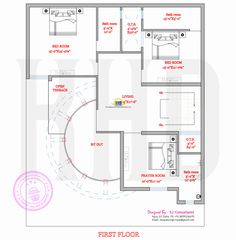 Modern house plan with round design element One Bedroom House Plans, House Plans Mansion, My House Plans, Small House Plans, House Floor Plans, Plan Duplex, Duplex House Plans, Bungalow House Design, House Front Design