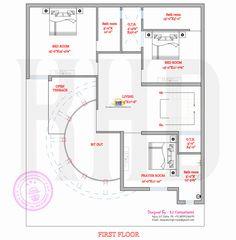 Modern house plan with round design element One Bedroom House Plans, My House Plans, Small House Plans, House Floor Plans, House Floor Design, Home Design Floor Plans, Modern House Design, Villa Design, Plan Duplex