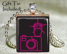 Camera Scrabble Tile Pendant with Necklace and Matching Gift Tin