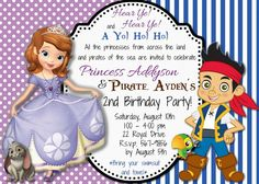 Custom Jake and the Neverland Pirates Sofia The First Birthday Invitation