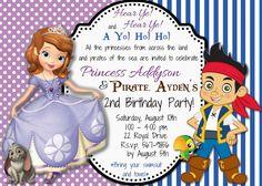 Custom Jake and the Neverland Pirates Sofia The First Birthday Invitation
