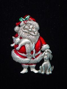 """/""""JJ/"""" Jonette Jewelry Silver Pewter /'Christmas Wreath with Doves/' Pin"""