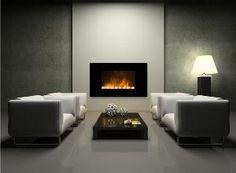 chimenea electrica de diseño moderno con efecto fuego y termostato