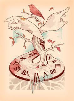 time-clock-hands-bird-illustration-tattoo-design-art « « Mayhem & Muse