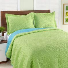 Steve Madden Reversible Quilt Set, Twin/X-Large, Apple/Blue