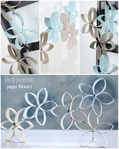 Paper flowerss n o te s: Paper Flowers Step Grab Your Craft Supplies. The pre-requisites to make this beautiful DIY Floral Craft for Decoration is. Toilet Paper Roll Art, Rolled Paper Art, Toilet Paper Roll Crafts, Diy Paper, Paper Flowers Diy, Flower Crafts, Wall Flowers, Decor Crafts, Diy Crafts