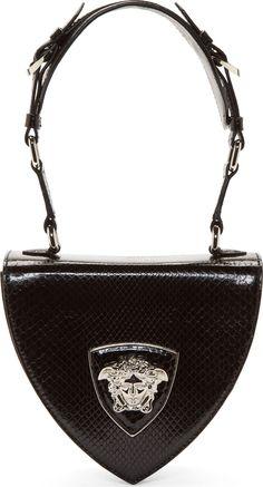1087e5af6f Versace Black Python Leather Silver Medusa Shoulder Bag WAS: $2,375.00 NOW:  $1,188.00 Versace Handbags