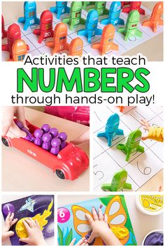 These number activities for preschoolers are sure to be a hit! Make learning numbers fun and playful! Math Activities For Kids, Number Activities, Counting Activities, Math For Kids, Hands On Activities, Fun Math, Alphabet Activities, Math Games, Numeracy Activities