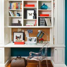 shelves above desk in kitchen