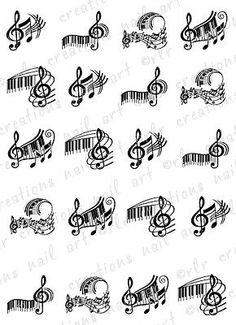 20 Piano Keys and Music Note Asst Water Slide Nail Art Decals Music Nail Decals | eBay