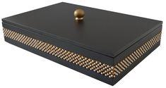 Caixa em MDF laqueado, com aplicação de manta dourada com perolas e strass preto, pés e puxador metálicos.