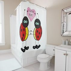 Ladybugs together holding hands in love shower curtain - shower curtains home decor custom idea personalize bathroom