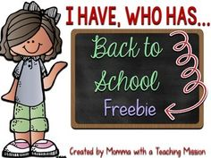 """Back to School I have Who Has game. There are 24 cards in this, so up to 24 students can play. The first card says """"I will start. I have...."""" This activity is perfect for the first week back to school. All items within the 24 cards are back to school items."""