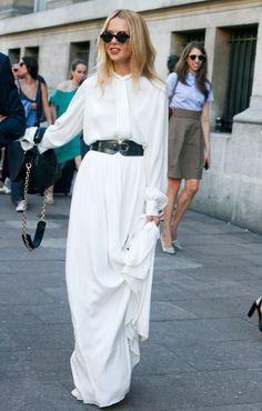 Rachel Zoe in Paris in floor sweeping white dress! perfection.