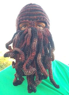 Cthulhu knit hat with eye and mouth holes. This by DeviDoesKnit 9611b06a9b1