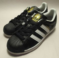 a718aaa97969e9 New in Box Adidas Superstar Reptile Black Leather Kids US 7 Ortholite  Sneakers  fashion