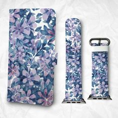 Gift Set iPhone case and Apple Watch Band 38mm 42mm Flowers and Leaves iPhone 6S iPhone 6S Plus iPhone 5S iPhone 4S case (BBSG-050)