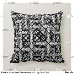 Shop Black White Modern Geometric Circles Throw Pillow created by LeonOziel. Custom Pillows, Decorative Throw Pillows, Geometric Circle, Repeating Patterns, Knitted Fabric, Circles, Black And White, Knitting, Modern