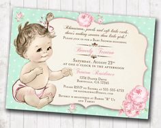 Girl baby shower invitation shabby chic floral vintage baby shower shabby chic floral vintage baby shower invitation for girl roses mint and pink diy filmwisefo Images
