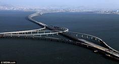Bridge.  Photo- The Danyang–Kunshan Grand Bridge is the world's longest bridge. It is a 164.8 kilometers (102.4 mi) long.