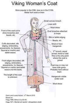 Sketch of a Viking woman's coat, with notes on the clothing elements. - Sketch of a Viking woman's coat, with notes on the clothing elements. Based on Hägg's reconstruction of the finds from Hedeby. Source by eisfuchs - Viking Garb, Viking Reenactment, Viking Dress, Viking Cosplay, Norse Clothing, Medieval Clothing, Woman Clothing, Designer Clothing, Viking Life