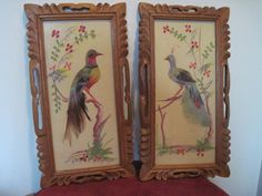 2 Hand Made, Hand Painted, birds with real feathers in wooden frame Feathercraft
