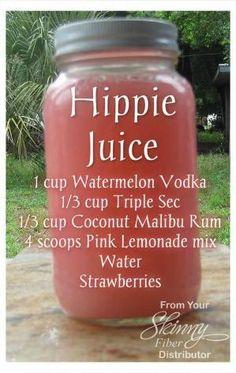 Hippie Juice - adult beverage recipe. Alcohol. Vodka, malibu rum, pink lemonade click the image for the recipe by kristie