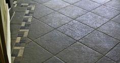 Ceramic tile floor with border