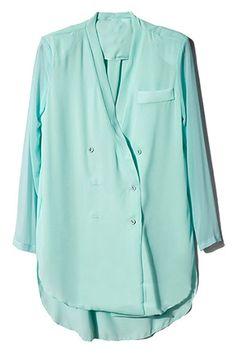 Asymmetric Double-breasted Blue Coat #Romwe